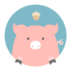 Animal set. Portrait in flat graphics - Pig