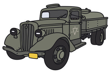 Hand drawing of an old military tank truck