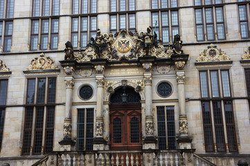 The facade of a historic building in Bremen