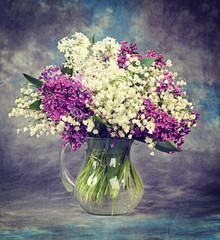Lilac in vase. Vintage retro hipster style version