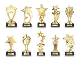 photos collection of stars awards isolated on white