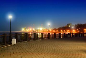 Embankment in Taganrog. Rostov region. Russia. Night. Winter
