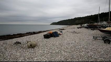 Beach west of harbour Lyme Regis Dorset UK