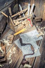 Old drawing desk in carpenter workshop