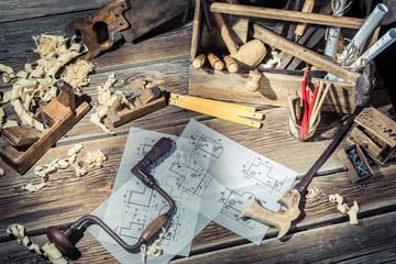 Vintage wooden carpenter drawing desk