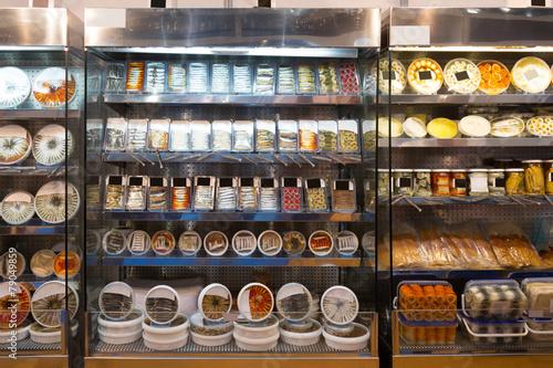 Keuken foto achterwand Boodschappen Shop-window with marinaded products
