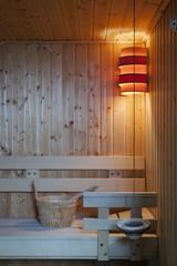 Inside of modern Finnish sauna