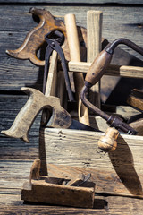 Carpenter working tools in a workshop