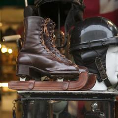wooden ice skates and vintage at flea market