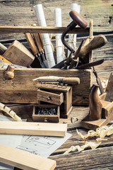Drafting Tools and diagrams in the carpentry workshop