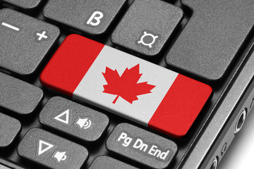 Go to Canada! Computer keyboard with flag key.