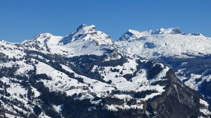 Winter landscape in Central Switzerland, view from Stoos