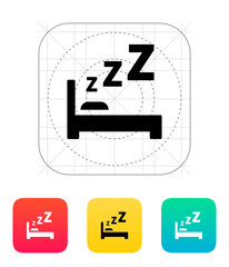 Sleeping in bed icon.