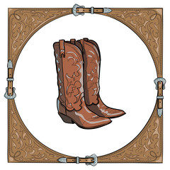 Cowboy boots in the western leather frame. Vector