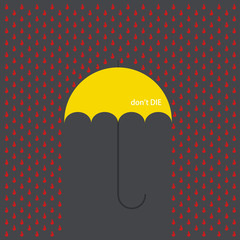 Vector modern umbrella with drops