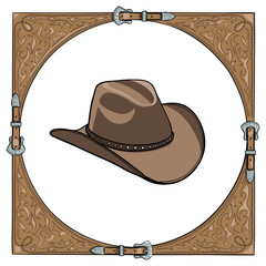 Cowboy hat in the western leather frame. Vector