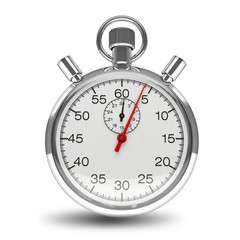 Stopwatch mechanical clock timer chrome isolated