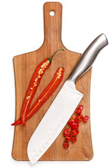 Chili pepper and knife