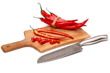 Chili pepper and knife