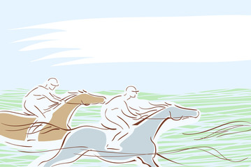 Horse race with two horse and jockeys. Vector banner
