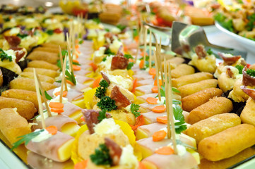 Catering food, table with food