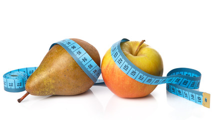 Fruits and measure tape