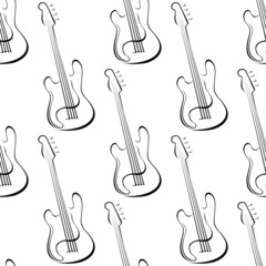 Outline electric guitars seamless pattern