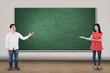 Two people showing empty board