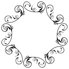 Round silhouette frame with floral ornament