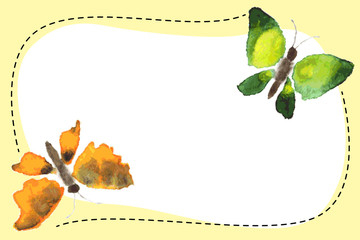 The banner with watercolor butterflies. Vector