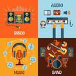 Music, audio, disco, band flat icons - 79054610