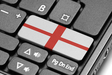 Go to England! Computer keyboard with flag key.