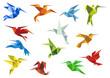 Abstract origami hummingbirds design elements