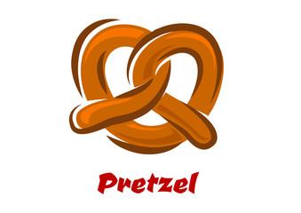 Bavarian twisted pretzel in cartoon style