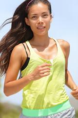 Running asian female runner active woman
