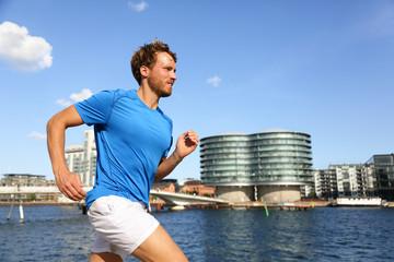 Runner running in urban Copenhagen city
