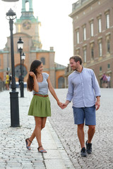 Stockholm couple walking romantic by Royal Palace