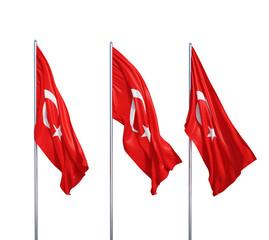three flags of Turkey