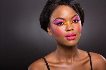 afro american woman with colorful makeup