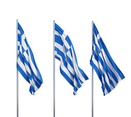 Waving flags of Greece