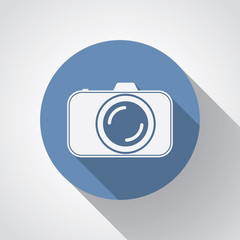 Professional photocamera flat icon with long shadow