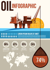 Oil Infographic. Oil and gas offshore rig