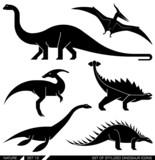 Vector set of geometrically stylized dinosaur icons.