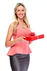 Beautiful woman with gift.