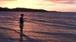 Silhouette of young woman casting rod fishing at sunset