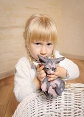 Little blond girl holding a sphynx kitten