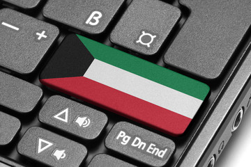 Go to Kuwait! Computer keyboard with flag key.
