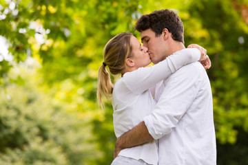 loving young couple kissing