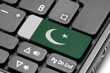 Go to Pakistan! Computer keyboard with flag key.