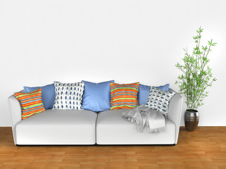 Bright sofa with colorful cushions